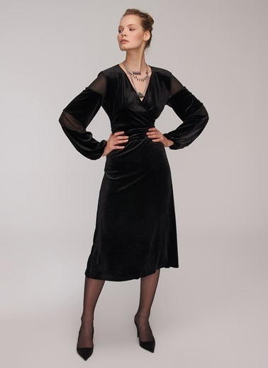 People By Fabrika Kadife Elbise Siyah